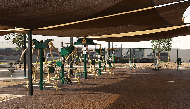Outdoor Fitness Zone at Corporate Campus with Rubber Flooring