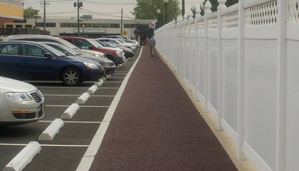Rubberway Pervious Pavement pathway for Stormwater Management in Parking Lot