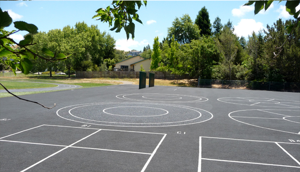 Rubberway Pervious Rubber Pavement Blacktop at a School