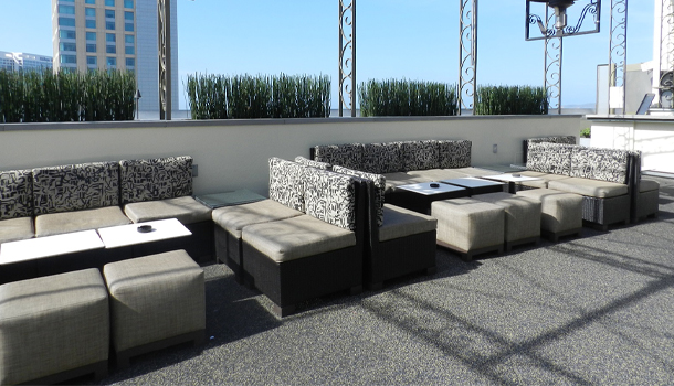 Rubberway Rubber Flooring on Hotel Rooftops Provides Sound Dampening and is non-slip