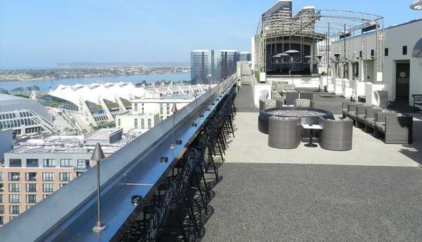 Rubberway Non-Slip Rubber Flooring on a Rooftop Bar