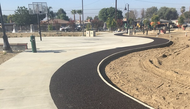 Rubberway Rubber Jogging Trail at Community Park as a non-slip, flexible, comfortable surface for walking and jogging