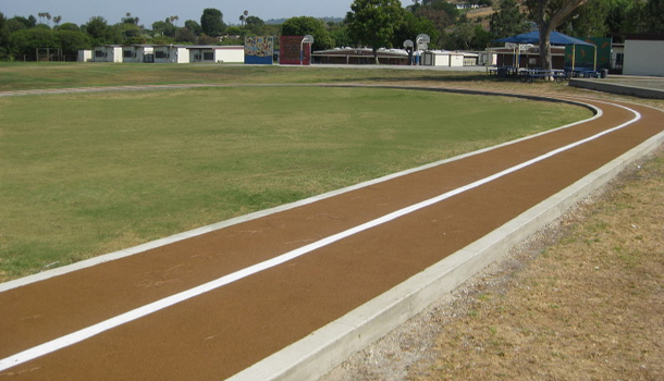 Rubber Running Track at Elementary School