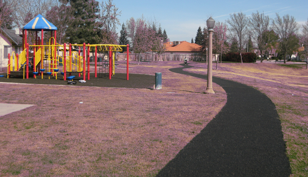 Rubberway flexible rubber pervious pavement trail at a park