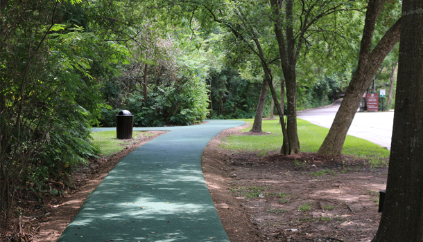 Rubber Jogging Trail at the Houstonian Hotel is flexible, ergonomic, and non-slip, plus it's porous for stormwater and flood management