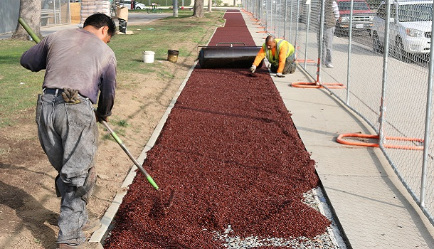 Rubberway Can Be Distributed with a Rake or Similar Tool