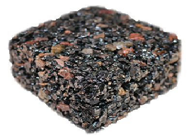 pervious rubber pavement with rock sample