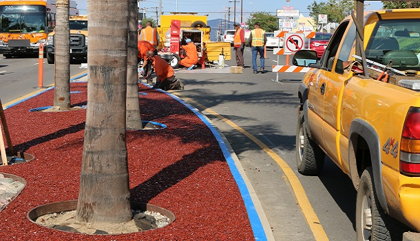 Rubberway Porous Recycled Rubber Street Median in Los Angeles is low maintenance and long lasting