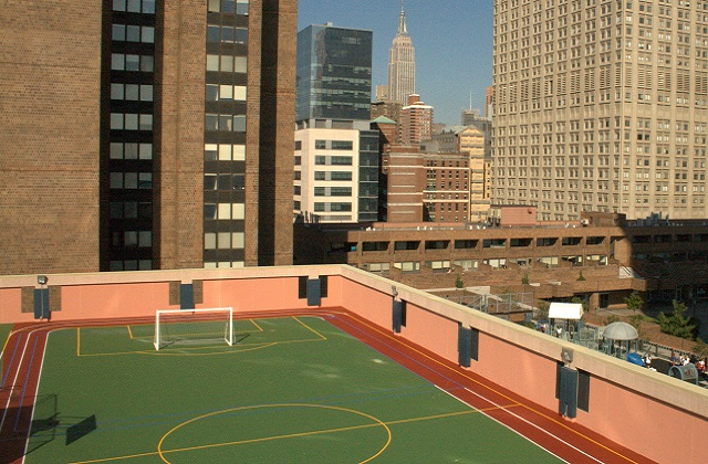 Rubberway Rooftop Recreation Area Installed at the United Nations International School in NYC